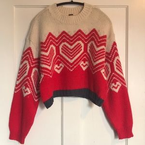 FREE PEOPLE | I HEART YOU SWEATER | RED/CREAM